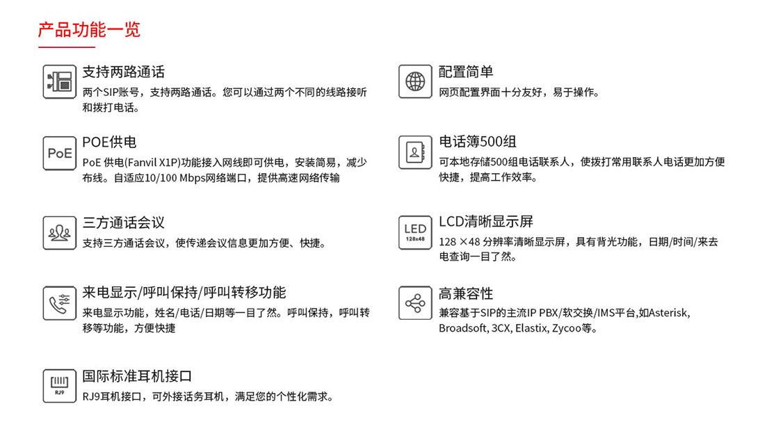 fanvil方位IP万博携手皇马X1/X1P-功能展示